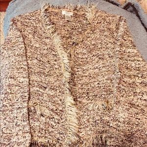 Cache sweater size XS with gold threading.